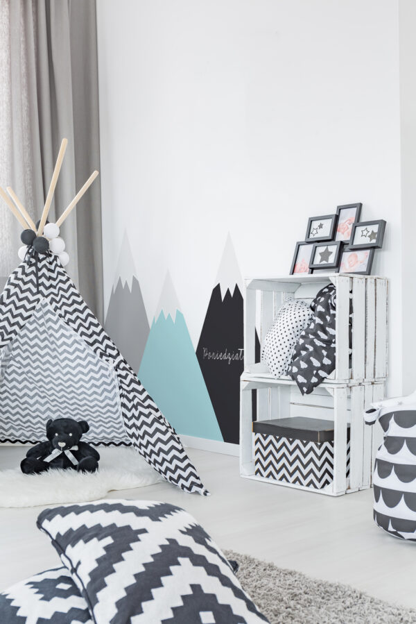 Modern child room with tent